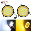 2Pcs 88mm Round COB LED DRL Waterproof White Amber Daytime Running Light Turn Signal Light Driving Fog Lamp Lights