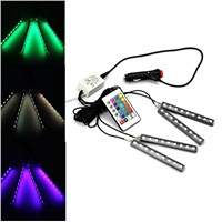4Pcs/Set Interior Strip Decorative Atmosphere Neon Light Lamp LED Wireless Remote Multi Color RGB Car Lighter