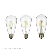 Vintage Edison LED Bulb E27 4W 6W 8W AC220V / 110V Transparent Clear Glass Shell Retro LED Filament Light ST64