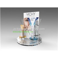 Customized Glass Cosmetic Display Stand Skin Care Display Stand Accept All Materials