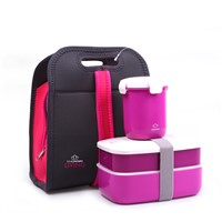 Bento Lunch Box w/ Water Mug Soup Mug & Insulated Carry Lunch Tote Bag Food Container Lunchbox Microwave Safe BPA Free