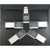 Square Crystal USB 2.0 Flash Drive with LED Light of Different Color