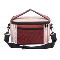 Promotional Striped Insulated Thermal Picnic Lunch Tote Cooler Bag