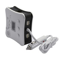 China Made Black 5V 3.1A 3 Cigarette Lighter Holes 4 USB ZNB05 Car Charger with LCD Screen Display