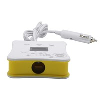 China Made Yellow 5V 3.1A 3 Cigarette Lighter Holes 4 USB ZNB05 Car Charger with LCD Screen Display