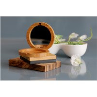Bamboo Blush Box with Mirror for Cosmetic Powder Packaging