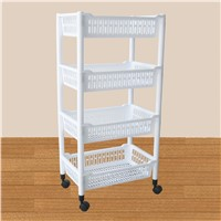 Multifunction Household Appliance Storage Rack Plastic Trolley with Wheels 4 Tiers