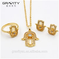 2017 Latest Design Fashion Jewelry Wedding Handmade Hand Shape Necklace Jewelry Set with Earring/Ring