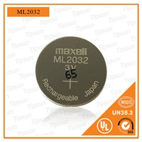 Rechargeable 3V Maxell ML2032 Coin Cell Battery for Electronic Watch