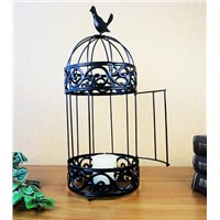Table Decoration Bird Cage Shaped Metal Candle Holder