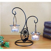 Home Table Decoration Metal Candle Holder with Glass Cup
