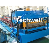 PLC Frequency Control Metal Roof Panel Roll Forming Machine with Color Steel, PPGI Raw Material