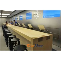 Shenzhen Customized Ash Tree Wood Grain Wood Cashier Desk for Apple Store Experience