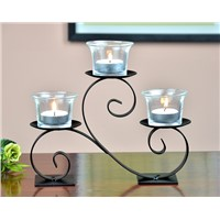 Hot Sale Table Home Decoration Metal Candle Holder with Glass Cup