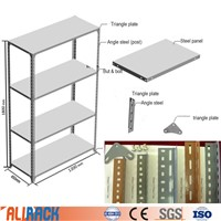 ALI RACKING Slotted Angle Steel Shelving with MDF Shelves Light Duty Shelving with Steel Shelf