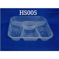 Rectangle Five Compartments Disposable Airtight PP Plastic Microwave Safe Food Container