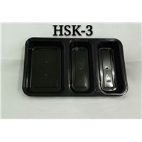 Rectangle Korean 3-Compartment Disposable PP Plastic/Microwave Safe Food Container