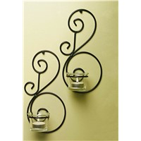 Wall Mounted Set of Two Metal Candle Holder for Home Decoration