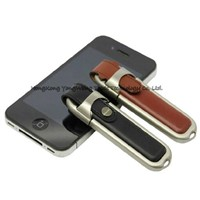 Leather USB 2.0 Flash Drive Memory Stick with Metal Box Package