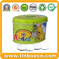 Saving Tin Box, Tin Saving Box, Tin Coin Bank, Tin with Lock (BR1901)