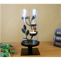 Home Decoration Cylinder Metal Candle Holder with Glass without Candle