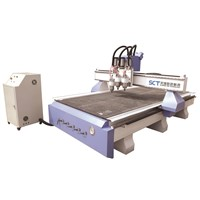 SCT-W2030Q3 Wooden Doors Making Machine Cutting Engraving 3 Spindles ATC CNC Router