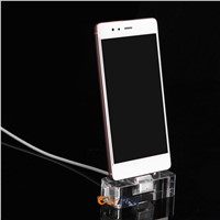 2017 New Square Mini Acrylic Display Stand for Huawei Android Mobile Phone Alarm with Charging