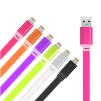 Colorful Mobile Charging Cable USB Electrical Wire Flat Cable for Smart Phone