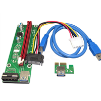 1X to 16X Riser Card USB 3.0 Extender with SATA 4 Pin IDE Molex Power Cable for Bitcoin Litecoin Miner