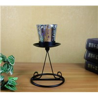 Home Decoration Candle Holder with Electroplate Glass