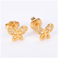 2017 Factory Direct Wholesale Butterfly Sharp 18k Gold Beautiful Designed Earring for Women