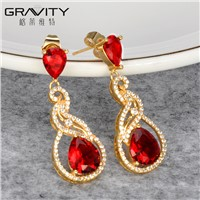 Stylish Gold Jewelry, Colorful Stone 18K/24K Gold Plated Earring