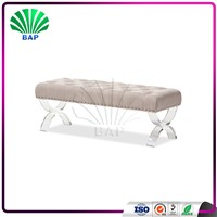 Soft Living Room Sofa Clear Plexiglass Sex Bench Lucite Long Chair with Acrylic Legs