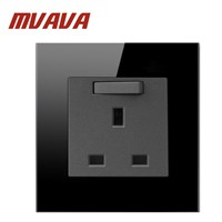 13A UK Switched Socket Luxury Black Crystal Glass 86 Size UK Standard Wall Socket
