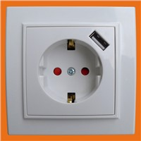 Wall Socket with USB Europe Type - CE Approved (F8810)