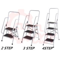 Powder Coated 2 Steps Safety Steel Ladder with Handrail