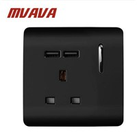 MVAVA UK Wall Socket with USB Black 13A LED Indicator Socket with Double USB Wall Socket PC Panel Wall Socket