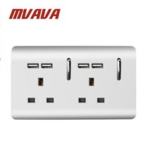 MVAVA Double UK Standard 13A Wall Socket with USB Socket Sliver PC Series 3 Pin UK Wall Socket Fast Charge USB Socket