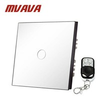 MVAVA EU Standard Single Glass Panel 1 Gang 1 Way Remote Control Wall Touch Switch Luxury White Pearl Crystal Glass