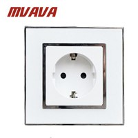 MVAVA Europe Sockets Mirror Crystal Glass EU German Standard Wall Power Socket Electrical Outlet AC 110~250V 16A