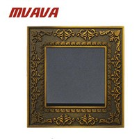MVAVA Lace Brass Push Button Switch 1 Gang 2 Way Emboss Wall Switch 16A Electric Light Switch
