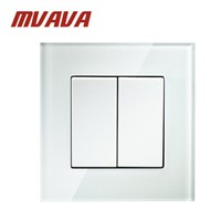 MVAVA Push Button Light Wall Switch 2 Gang 1 Way 16A 250V Luxury Crystal Glass Panel