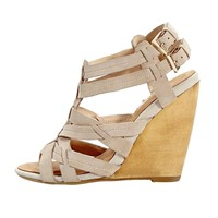 PARRCEN Womens Suede Wedge Sandal with Ankle Strap (AB02-4)