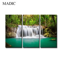 3 Piece Canvas Wall Art Green Forest Waterfall Natural Scenery Canvas Prints Oil Painting Framed