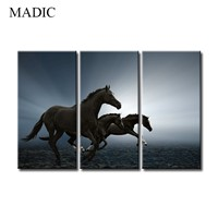 Canvas Pictures for Living Room 3 Panel Running Horse Oil Painting Framed Wall Art Canvas Prints Pictures