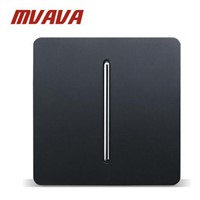 MVAVA Hot Sale Luxury PC Series Wall Light Switch Panel Black PC Design 110~250V 1 Gang 2 Way Push Button Switch