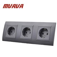 MVAVA Triple EU Standard Wall Socket Black PC Panel 3 Frame AC 110~250V 16A Germany Type Power Plug Outlet Sockets