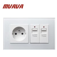 MVAVA White Crystal Panel AC250V Wall French Power Wall Socket with USB Socket Double FR Standard Socket & USB Socket
