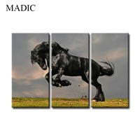Canvas Paintings for Home Decoration Wall Art Black Horse Oil Painting Printed & Framed