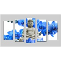5 Panel Wall Paintings Buddha Canvas Oil Paintings for Home Decoration